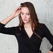 Одежда ручной работы. Ярмарка Мастеров - ручная работа Платье с запахом черное. Handmade.