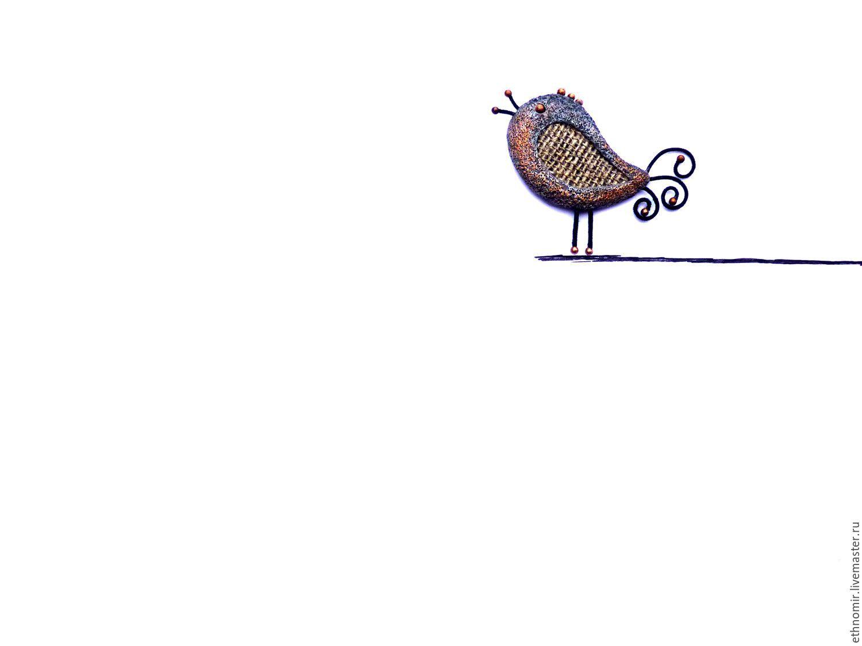 брошь `Петушок`№1 лён