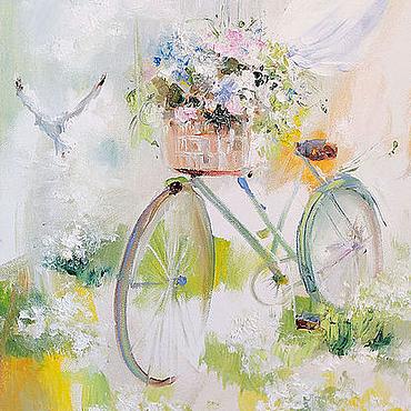 Картины и панно ручной работы. Ярмарка Мастеров - ручная работа Flower wind. Bicycles. Handmade.
