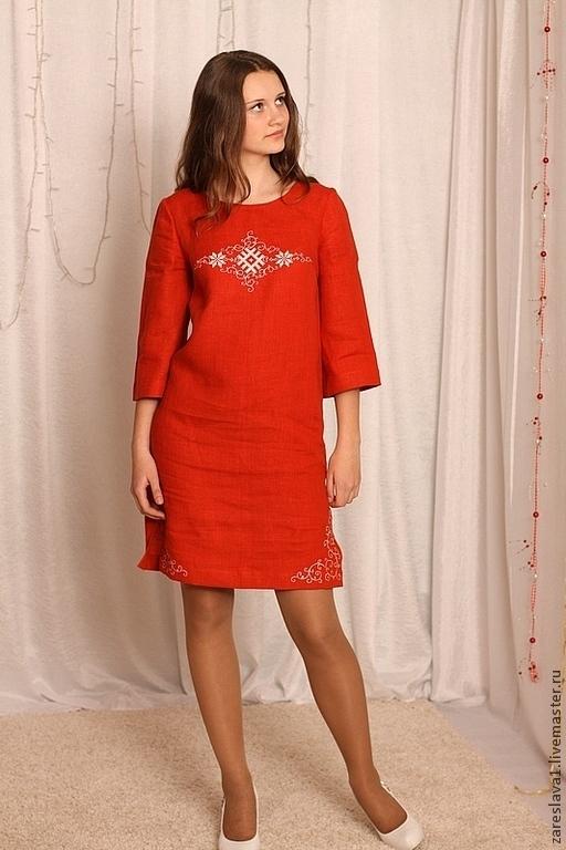Платья ручной работы. Ярмарка Мастеров - ручная работа. Купить Женская туника-платье в терракотовых тонах с вышивкой. Handmade. Бордовый