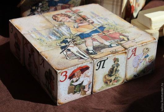 """Детская ручной работы. Ярмарка Мастеров - ручная работа. Купить Кубики с алфавитом """"Из детства..."""". Handmade. Кубики"""