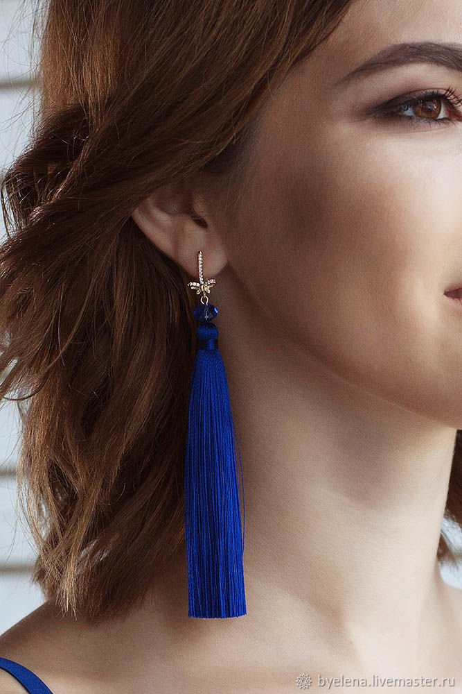 Earrings tassels 'dark blue with bows', Tassel earrings, Novosibirsk,  Фото №1