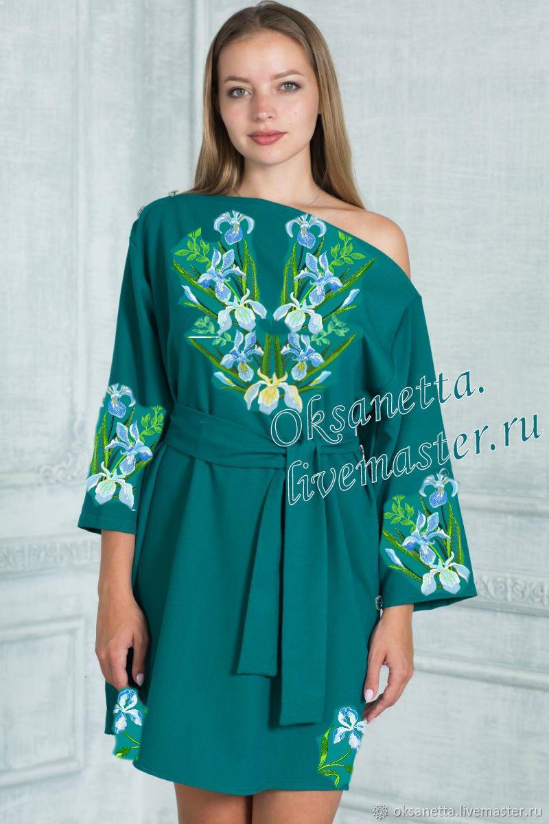 "Blouses handmade. Livemaster - handmade. Buy Туника ""Белые ирисы"".Dress, beautiful dress, gifts for women, embroidered shirt"