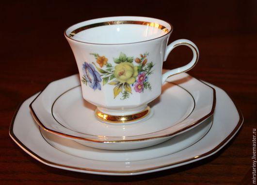 Винтажная посуда. Ярмарка Мастеров - ручная работа. Купить Красивое чайное трио с цветами(с двух сторон), Winterling, Германия. Handmade.