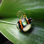 Украшения handmade. Livemaster - original item Brooch pin bumblebee. Glass lampwork. Handmade.