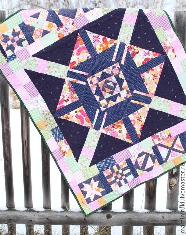 """Пледы и одеяла ручной работы. Ярмарка Мастеров - ручная работа. Купить Покрывало панно, одеяло, """"Геометрическая вселенная"""". Детское. Handmade."""