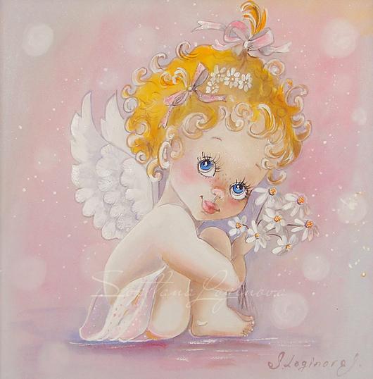 Фэнтези ручной работы. Ярмарка Мастеров - ручная работа. Купить Картина на шелке Ангелочек... Handmade. Бледно-розовый, картина в детскую