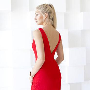 Одежда ручной работы. Ярмарка Мастеров - ручная работа Красное вечернее платье, платье футляр из гипюра. Handmade.