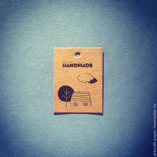 """Упаковка ручной работы. Ярмарка Мастеров - ручная работа. Купить Бирка из крафта """"Домик"""". Handmade. Коричневый, дерево, упаковка, печать"""