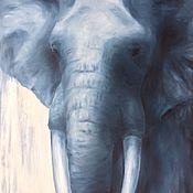 Картины ручной работы. Ярмарка Мастеров - ручная работа Картина маслом Слон индиго. Handmade.