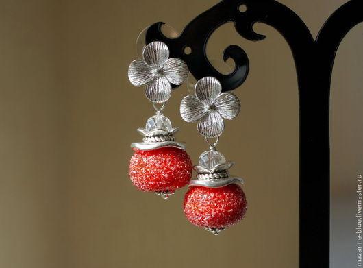 """Серьги ручной работы. Ярмарка Мастеров - ручная работа. Купить """"Сахарная ягодка"""" серьги лэмпворк. Handmade. Серьги, стекло"""