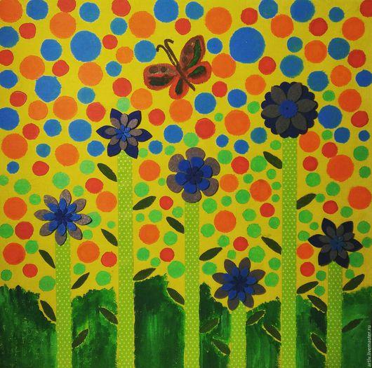 Картины цветов ручной работы. Ярмарка Мастеров - ручная работа. Купить Голубые цветы. Handmade. Синий, цветы, весна, лето