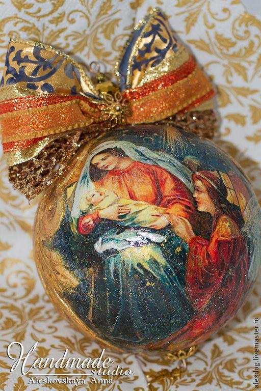 """Новый год 2017 ручной работы. Ярмарка Мастеров - ручная работа. Купить Елочный ша ручной работы - """"Merry Christmas!"""". Handmade."""
