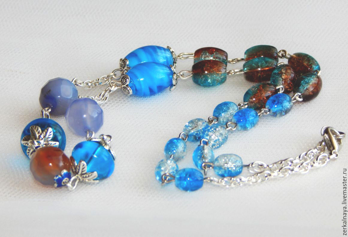 Necklaces & Beads handmade. Livemaster - handmade. Buy Beads 'safe Harbor'.Blue, beads with agate, glass beads