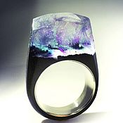 Украшения handmade. Livemaster - original item Wooden ring with silver insert 17 size. Handmade.