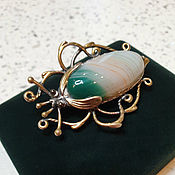 Украшения handmade. Livemaster - original item Beetle brooch with natural green agate, silvered. Handmade.