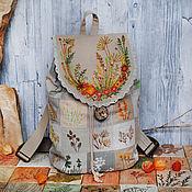 "Backpacks handmade. Livemaster - original item Льняной рюкзак ""Цветочный калейдоскоп"". Handmade."