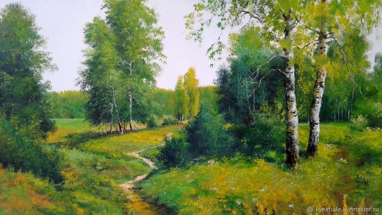Birch trees, oil on canvas summer landscape artist Vladimir Chernov, novelty, picture, picture for the interior, as a gift for the soul