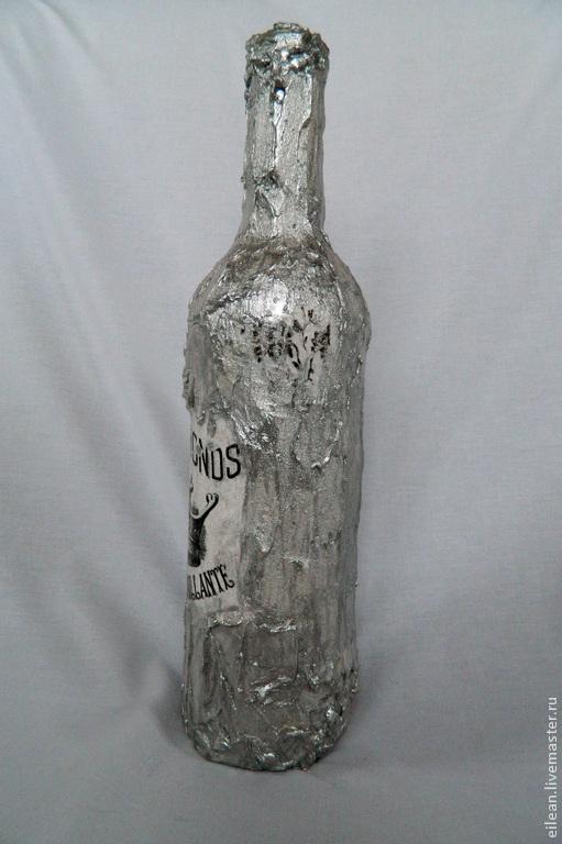 """Бутылка, терра, декупаж, """"Алмазная корона"""""""