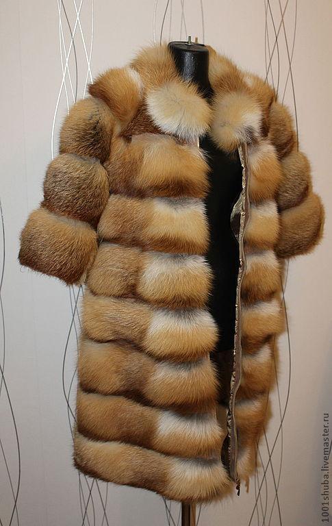 Шуба из рыжей лисы поперечка, длина 90 см, на молнии или крючках, пошив по меркам под заказ