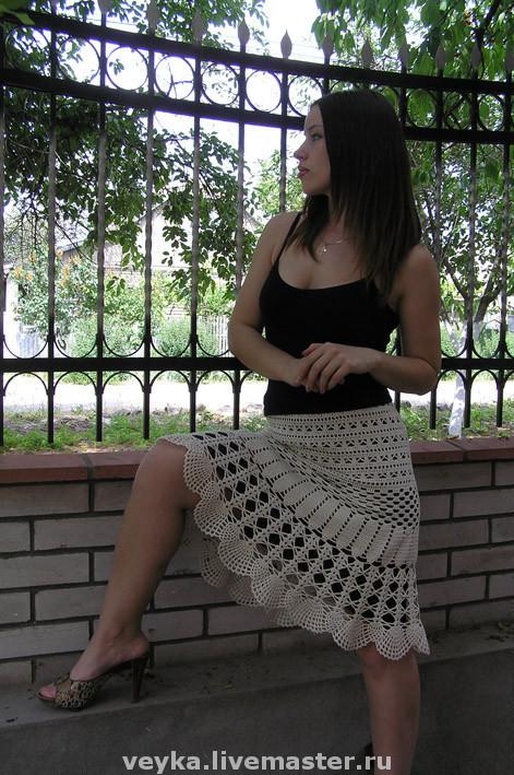 Skirts handmade. Livemaster - handmade. Buy Crocheted boho skirt Vintage.Crochet, the fluffy skirt, milk, cotton