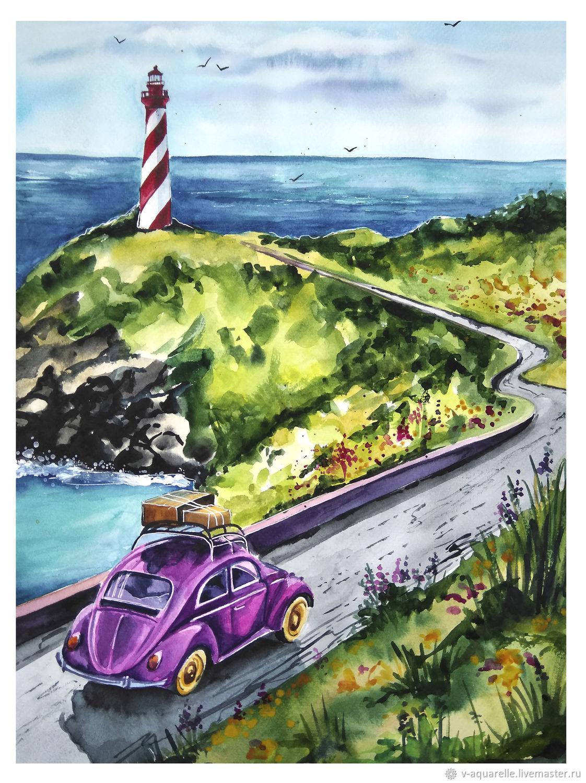 Пейзаж ручной работы. Ярмарка Мастеров - ручная работа. Купить Дорога к маяку. Handmade. Море, пейзаж, машина, картина в подарок