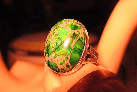 """Кольца ручной работы. Ярмарка Мастеров - ручная работа. Купить Кольцо """"Зеленая долина"""".. Handmade. Авторское кольцо, кольцо с яшмой"""