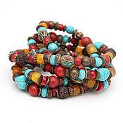 Украшения handmade. Livemaster - original item Long necklace of Tibetan style coral, turquoise, jade ethno boho bright. Handmade.