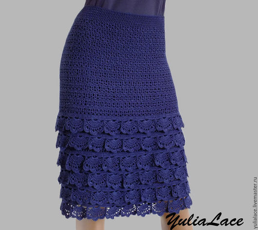 Юбки ручной работы. Ярмарка Мастеров - ручная работа. Купить Вязаная юбка синяя. Handmade. Тёмно-синий, юбка миди