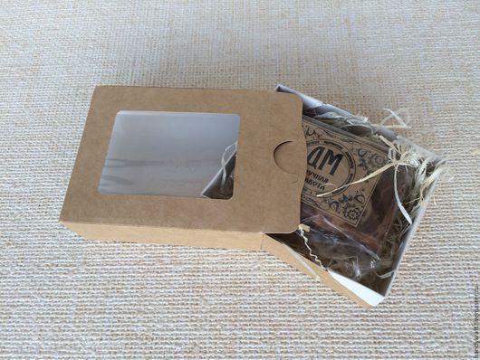 Упаковка ручной работы. Ярмарка Мастеров - ручная работа. Купить Крафт коробка-пенал с окошком 10х8х3 см. Handmade. Бежевый