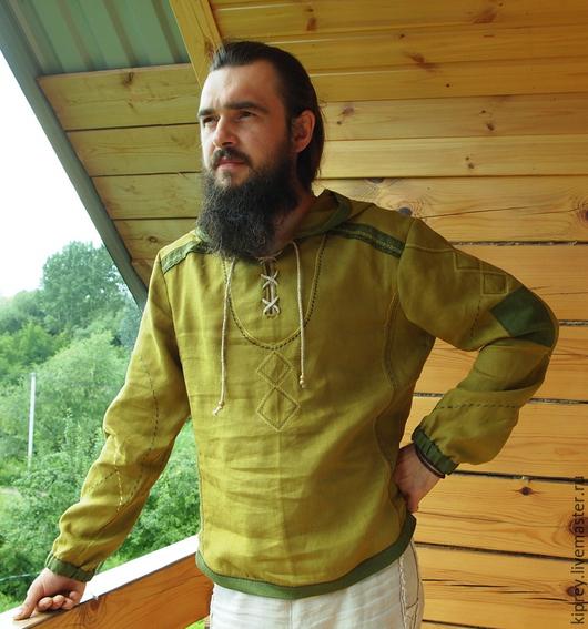 """Для мужчин, ручной работы. Ярмарка Мастеров - ручная работа. Купить Мужская льняная рубаха """"Трава у дома"""". Handmade. Оливковый"""