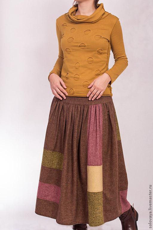 Юбки ручной работы. Ярмарка Мастеров - ручная работа. Купить Теплая шерстяная юбка со сборками на кокетке.. Handmade. Коричневый
