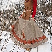 """Одежда ручной работы. Ярмарка Мастеров - ручная работа Льняная юбка с кружевом  """"Янтарный сон """". Handmade."""