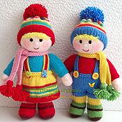 """Мягкие игрушки ручной работы. Ярмарка Мастеров - ручная работа """"Двойняшки"""" вязаные куклы. Handmade."""