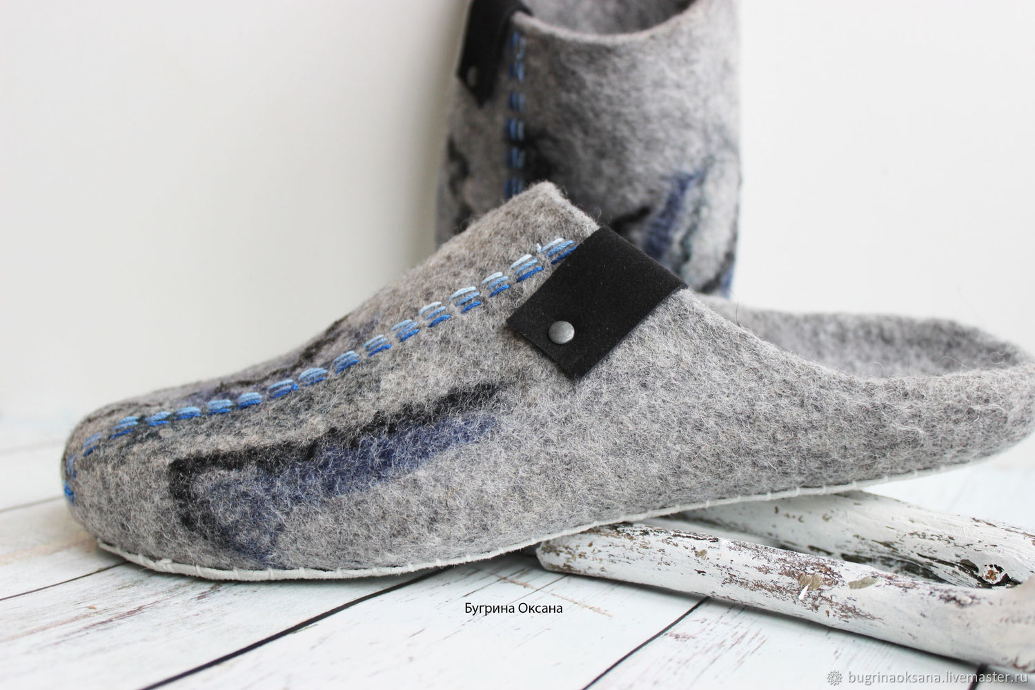 'Classic grey' men's felted Slippers, Slippers, St. Petersburg,  Фото №1