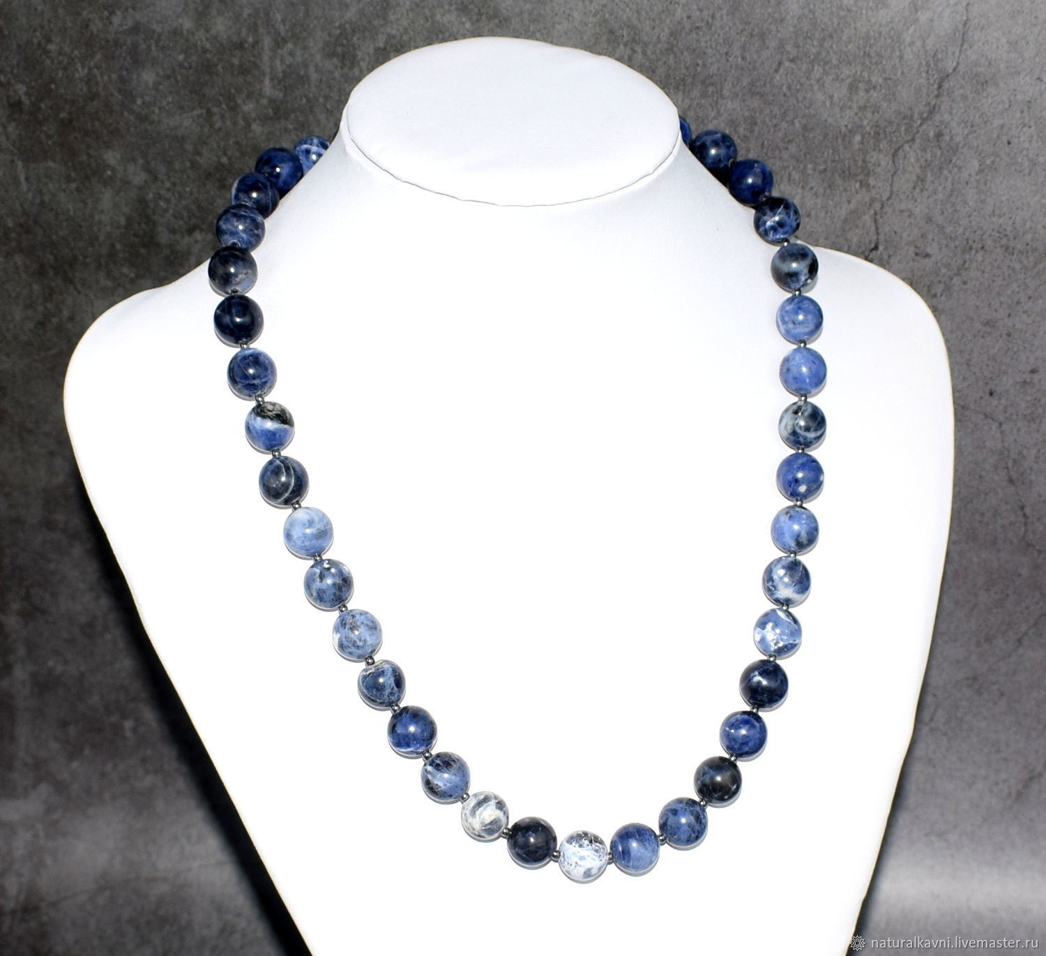 Beads made of natural stone sodalite, Beads2, Moscow,  Фото №1