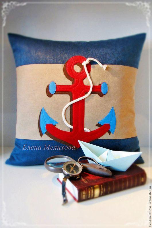 Декоративная подушка `ЯКОРЬ`  в каюту юного капитана)
