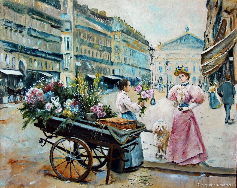 Парижская цветочница (по мотивам), Картины, Москва,  Фото №1