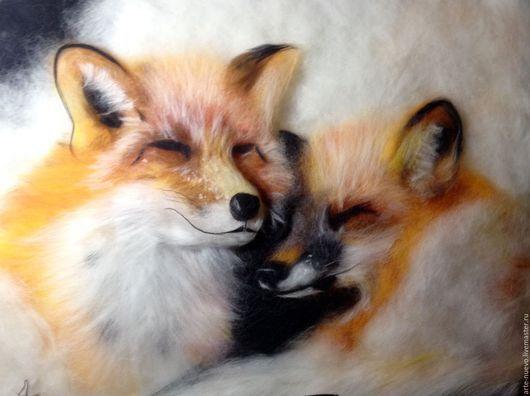 """Животные ручной работы. Ярмарка Мастеров - ручная работа. Купить Картина из шерсти """"Лисицы"""". Handmade. Рыжий, картина в подарок, лиса"""