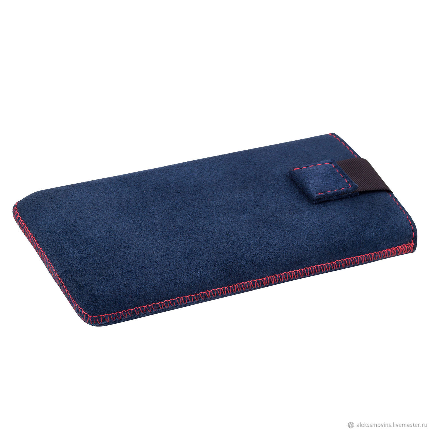 Case for iPhone 6 Plus 7 Plus Blue suede leather With red stitching, Covers, Riga, Фото №1