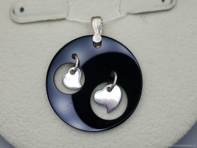 Серебряная подвеска с черным ониксом 32 мм, Подвеска, Москва,  Фото №1