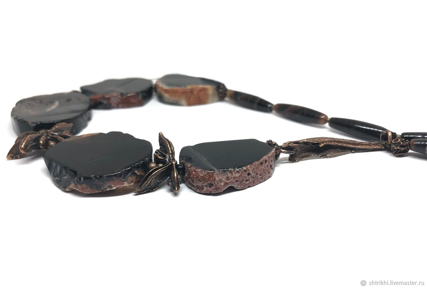 Taste of mystery. Agate natural, accessories Anna Black, silvering, Necklace, Moscow,  Фото №1