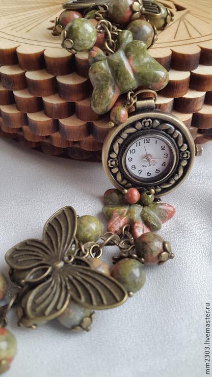 Часы ручной работы. Ярмарка Мастеров - ручная работа. Купить Часы ручной работы. Handmade. Хаки, яшма натуральная
