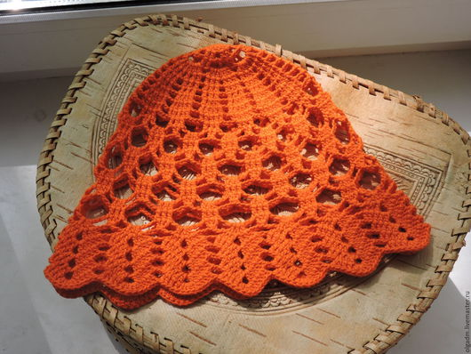 Панамы ручной работы. Ярмарка Мастеров - ручная работа. Купить Оранжевая панамка. Handmade. Рыжий, панамка вязаная, для девочки, хлопок