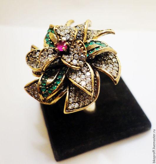 """Кольца ручной работы. Ярмарка Мастеров - ручная работа. Купить Шикарное серебряное кольцо 925 пробы рубин """"Цветок Королевы"""" №2. Handmade."""