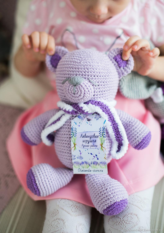 Лавандовый мишка с шарфиком, ручная работа, Мягкие игрушки, Москва,  Фото №1