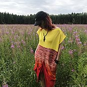 Одежда handmade. Livemaster - original item SSC _002 tunic Dress straight, color red, melange, yellow. Handmade.