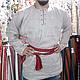 Одежда ручной работы. Ярмарка Мастеров - ручная работа. Купить Рубаха со шнуровкой. Handmade. Серый, рубаха мужская