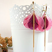 Украшения handmade. Livemaster - original item Earrings with Real Geranium Petals Crimson Pink Eco Jewelry. Handmade.