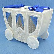 """Свадебный салон ручной работы. Ярмарка Мастеров - ручная работа Свадебная копилка """"Карета"""" бело-синяя. Handmade."""